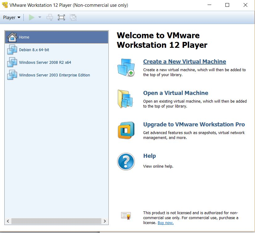 VMWare Workstation Player 12 - Creación