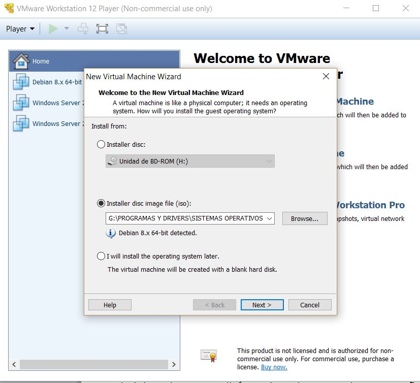 VMWare Workstation Player 12 - Tipo de instalación